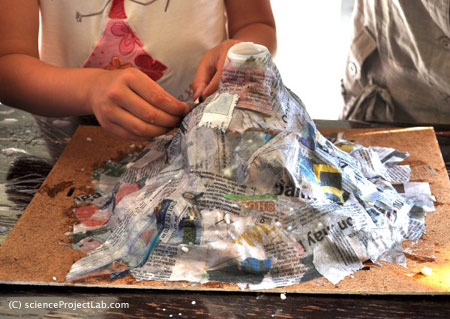 Paper Mache Volcano from Science Project Lab
